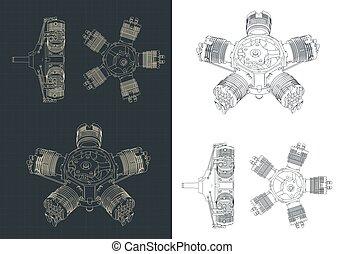 radial, dessins, moteur