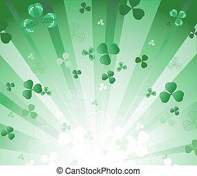 radiant, fond, vert, trèfle