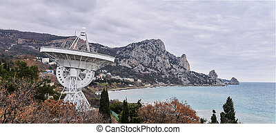 radio, astronomique, grand, rivage, télescope, panoramique, paysage