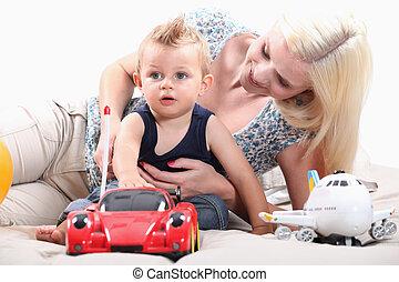 radio-controlled, garçon, peu, voiture