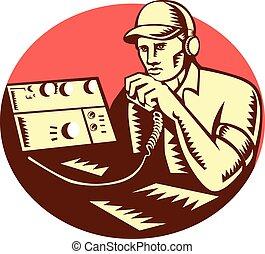 radio, woodcut, opérateur, cercle, jambon
