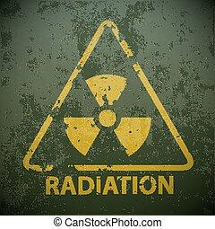 radioactivity., illustration, signe, vecteur, jaune, avertissement, stockage