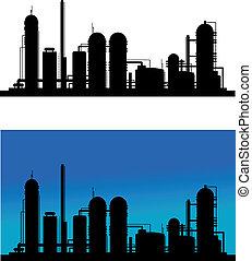 raffinerie chimique, plante, ou