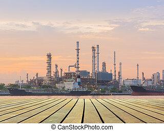 raffinerie, huile, scène, plant., matin