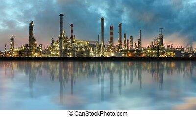 raffinerie, industrie, huile, -, plante