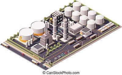 raffinerie, isométrique, vecteur, huile