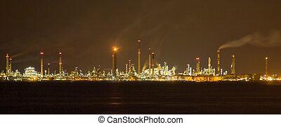 raffinerie, nightscape, huile