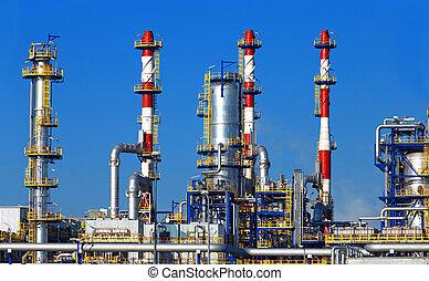 raffinerie, pétrochimique, huile, plante