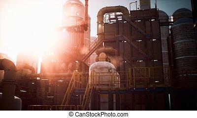 raffinerie pétrole, usine, industrie, coucher soleil