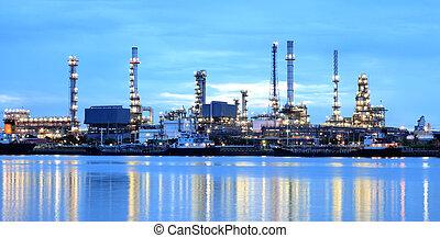 raffinerie, panorama, secteur, crépuscule, plante