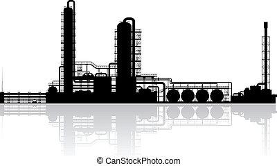 raffinerie, plante, huile, silhouette