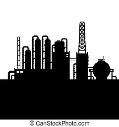 raffinerie, plante, huile, silhouette, usine, chimique, vecteur, 3.