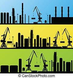 raffinerie, station, vecteur, fond, huile