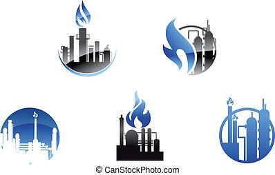 raffinerie, symboles, usine, icônes