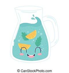 rafraîchissement, cruche, eau