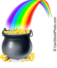 rainb, pot, or, fin