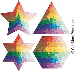 rainbow., formes géométriques, puzzle, ensemble, vecteur, illu, couleurs