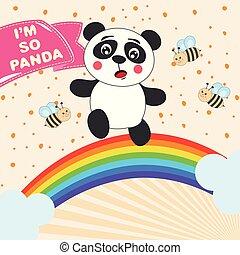 rainbow., mignon, card., courant, girl, salutation, panda, dessin animé