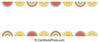rainbows., bonjour, bannière, conception, vecteur, été, pastèque, soleil, beignet, illustration