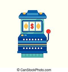 rainure, arcade, casino, illustration, machine, vecteur, retro, fond, blanc