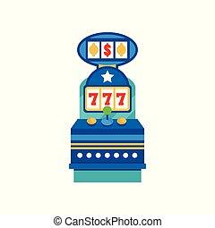 rainure, casino, illustration, machine, vecteur, retro, fond, blanc