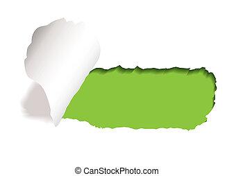 rainure, larme, papier, vert