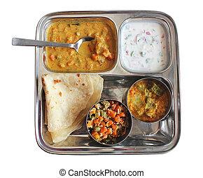 raitha, traditionnel, indien, chapati, caris, pain
