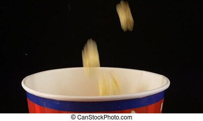 ralenti, pop-corn, 2, meute, noir, tomber, gouttes, sac