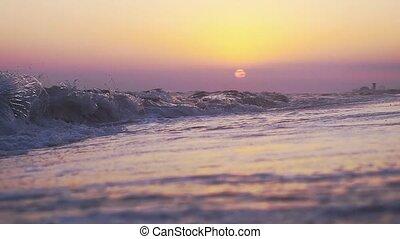 ralenti, surprenant, vagues, pendant, plage, sunset.