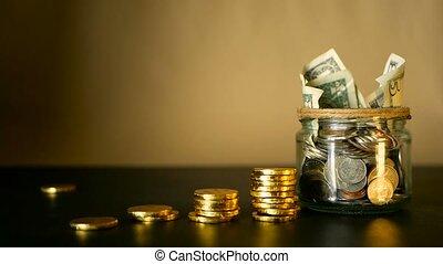 ramassage, garder, économie, investir, pot., symbole argent, tirelire, espèces, billets banque, verre, étain, monnaie, concept.