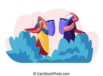 ramassage, thé, plantation., dos, femme, ouvriers, indien, été, robes, plat, illustration, métier, caractères, occupation., dessin animé, femmes, pickers, feuilles, traditionnel, vecteur, panier, frais