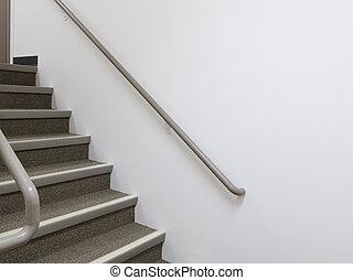 rampes, intérieur bâtiment, blanc, escalier