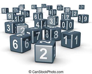 randomly, cube, placer, nombre, dés