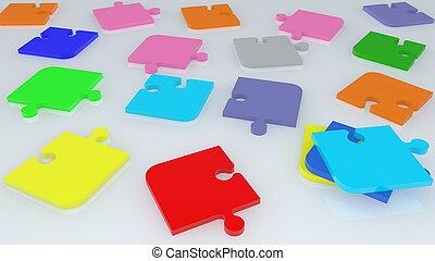 randomly, puzzle, coloré, morceaux