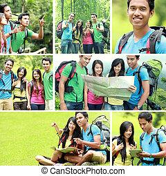randonnée, camping, gens, ensemble, /, voyage