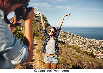 randonnée, images, prendre, jeune, quoique, couple, heureux