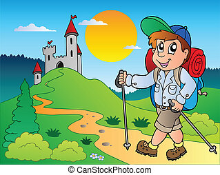 randonneur, garçon, château, dessin animé