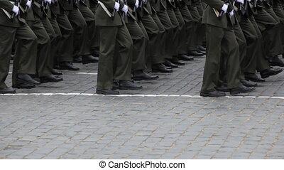 rangées, mars, parade, trottoir, soldats, militaire, jambes