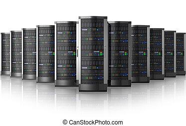 rang, réseau, centre, serveurs, données