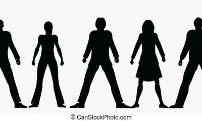 rang, silhouette, gens