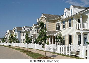 rang, suburbain, maisons urbaines