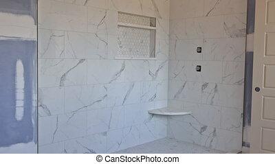 rapiécer, salle bains, drywall, rénovation, maître, concepteur, construction