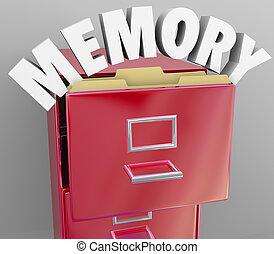 rappeler, rapporter, rappeler, cabinet, fichier, mémoire