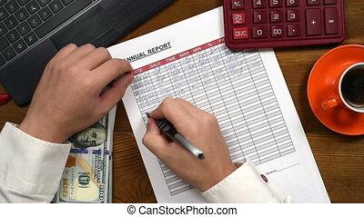 rapport, comptable, remplit