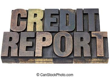 rapport, crédit, bois, type