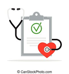 rapport, diagnosis., monde médical, stéthoscope