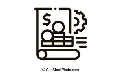rapport, financier, animation, icône