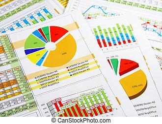 rapport, graphiques, annuel, diagrammes