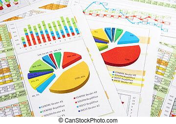 rapport, graphiques, chiffres, diagrammes ventes