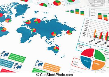 rapport, graphiques, papier, diagrammes